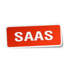 Saas square sticker on white vector