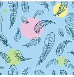 Seamless pattern with feathers and circle on the b vector