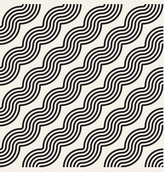 Seamless wavy lines pattern repeating vector