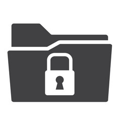 Secure data folder solid icon security padlock vector