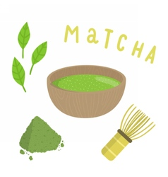 Set for making matcha tea vector