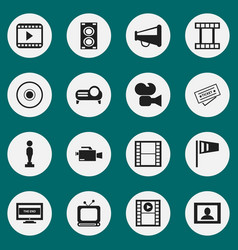 Set of 16 editable cinema icons includes symbols vector