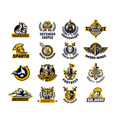 set of logos on the sword and warrior viking a vector image vector image