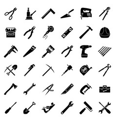 Set of thirty six flat style black and white vector
