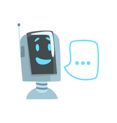 Smiling funny robot and speech bubble voice vector