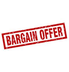 square grunge red bargain offer stamp vector image