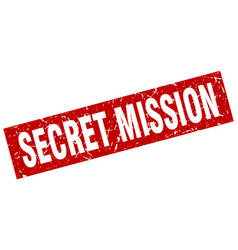 Square grunge red secret mission stamp vector