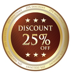 Twenty Five Percent Discount Gold Label vector image vector image