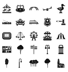 Urban recreation park icons set simple style vector