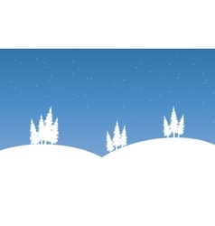 Silhouette of hill on winter scenery vector