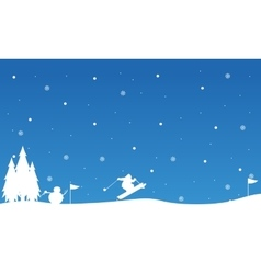 Landscape snowman and people skiing vector
