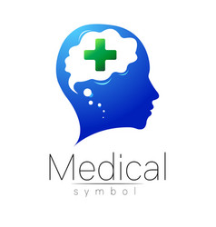 medical sign with cross human brain vector image