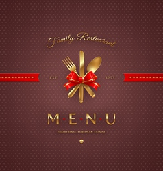 Cover menu with golden cutlery and lettering vector