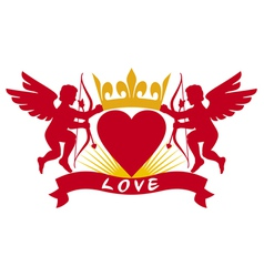 two cupids heart and crown vector image