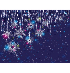 Blue card with christmas snowflakes vector