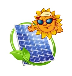 Solar panel with cartoon sun vector