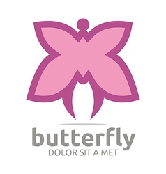 Logo butterfly pink insect spring symbol abstract vector