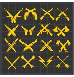 Crossed weapons collection in dark vector