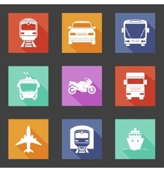 Simple flat transport icons set with long shadows vector