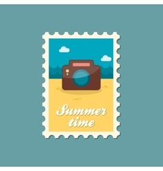 Photo camera flat stamp summertime vector