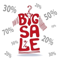 Big sale letteringtee shirt on hangerfalling vector