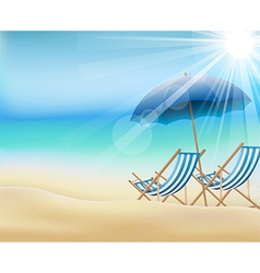 Daytime summer background on beach vector