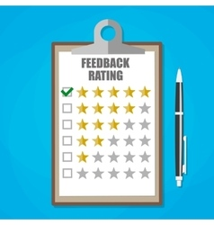 Clipboard with five stars feedback rating vector