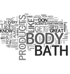 Bath and body products text word cloud concept vector