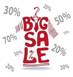 Big Sale letteringTee Shirt on hangerfalling vector image vector image