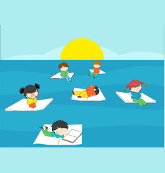children reading books in the blue sea on summer vector image