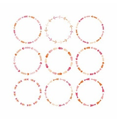 Cute pink circle arrow border patterns set vector