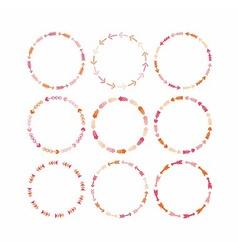 Cute pink circle arrow border patterns set vector image