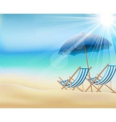 Daytime summer background on beach vector