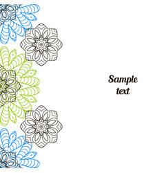 Doodle image mandala circular patterns black blue vector
