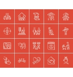 Family sketch icon set vector
