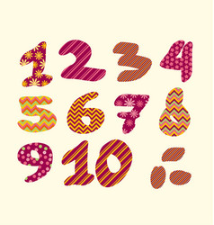 Figure numbers lettering vector