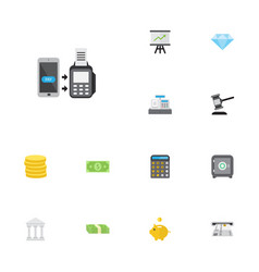 Flat icons growing chart verdict money box and vector