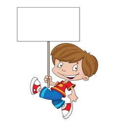 funny boy with blank sign vector image vector image