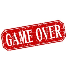 Game over red square vintage grunge isolated sign vector