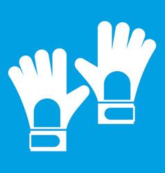 Gloves of goalkeeper icon white vector