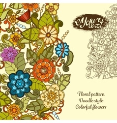 Greeting card with colorful doodle flowers vector image