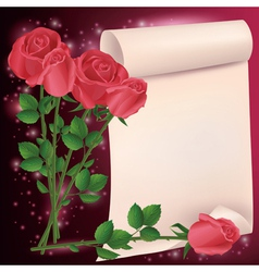 Greeting or invitation card with roses vector image vector image