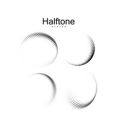 halftone 3d curved shapes set vector image