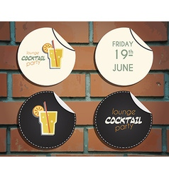 Lounge cocktail party badges and labels invitation vector