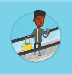 man using smartphone on escalator in airport vector image vector image