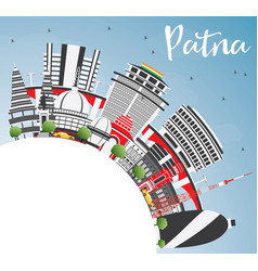 Patna skyline with gray buildings blue sky and vector