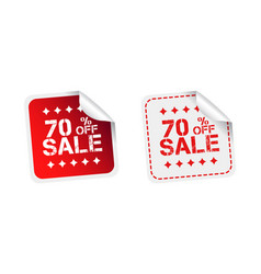Sale stickers 70 percent off on white background vector