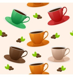Seamless pattern coffee cups vector image