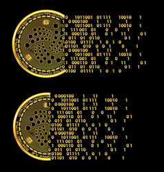 Set of crypto currency iota golden symbols vector