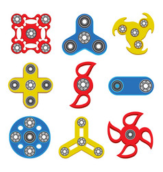 Set of hand spinner toys flat icons vector